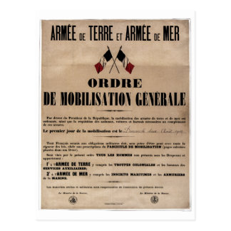 The Mobilization in France on August 1, 1914 Postcards