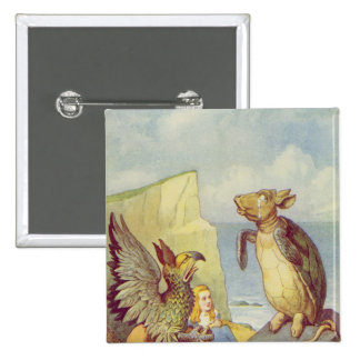 The Mock Turtle and the Gryphon 15 Cm Square Badge