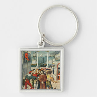 The Mocking of Christ Silver-Colored Square Key Ring