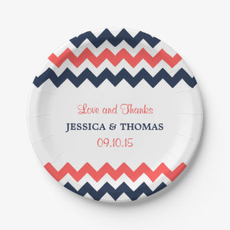The Modern Chevron Wedding Collection Navy & Coral 7 Inch Paper Plate