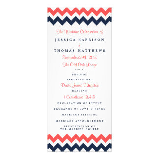 The Modern Chevron Wedding Collection Navy & Coral Custom Rack Cards