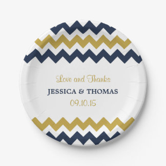 The Modern Chevron Wedding Collection- Navy & Gold 7 Inch Paper Plate