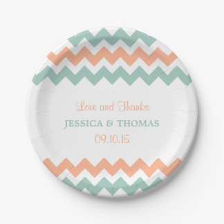 The Modern Chevron Wedding Collection Peach & Mint 7 Inch Paper Plate