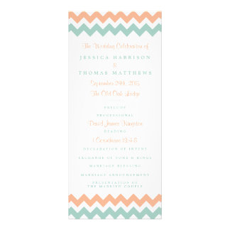 The Modern Chevron Wedding Collection Peach & Mint Personalised Rack Card