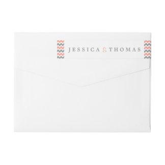 The Modern Chevron Wedding Collection- Pink & Grey Wraparound Return Address Label
