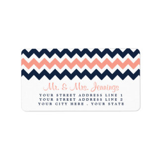 The Modern Chevron Wedding Collection- Pink & Navy Address Label
