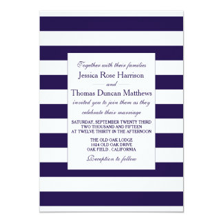 The Modern Navy Stripe Wedding Collection 13 Cm X 18 Cm Invitation Card