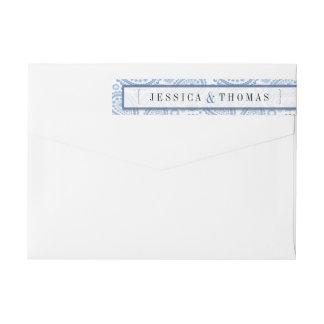 The Modern Paisley Wedding Collection - Blue Wraparound Return Address Label