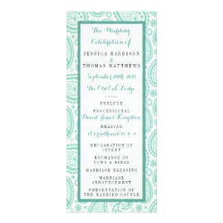 The Modern Paisley Wedding Collection - Green Personalized Rack Card