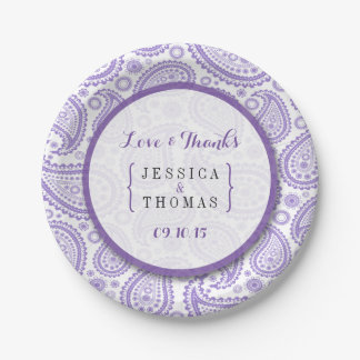 The Modern Paisley Wedding Collection - Purple 7 Inch Paper Plate