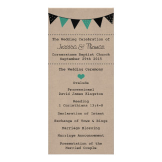 The Modern Turquoise Bunting Wedding Collection Full Color Rack Card