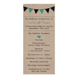 The Modern Turquoise Bunting Wedding Collection Rack Card Design