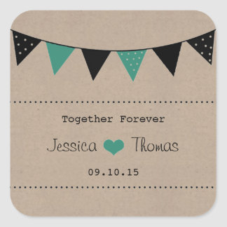 The Modern Turquoise Bunting Wedding Collection Square Sticker