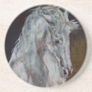 The Modern White Blue Horse Beverage Coaster