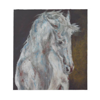 The Modern White Blue Horse Notepads