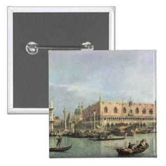 The Molo and the Piazzetta San Marco, Venice (oil 15 Cm Square Badge