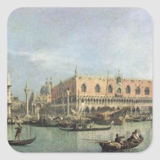 The Molo and the Piazzetta San Marco, Venice (oil Square Sticker