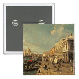 The Molo and the Zecca, Venice (oil on canvas) 15 Cm Square Badge