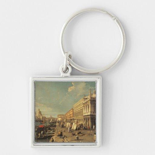 The Molo and the Zecca, Venice (oil on canvas) Key Chain