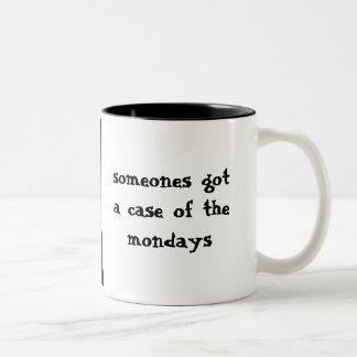 The Mondays Sad Cat on Monday Two-Tone Coffee Mug