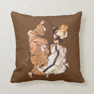 The Monk and the Lady Kick up Their Heels Cushion