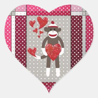 The monkey in-love. heart sticker
