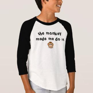 The Monkey Made Me Do It kids shirt design
