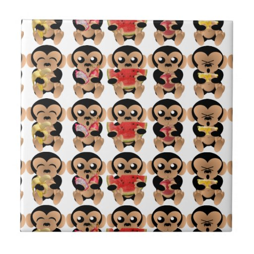 The monkeys which like the fruits ceramic tiles