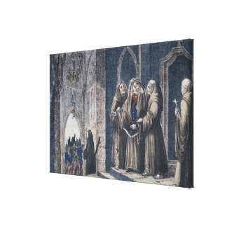 The Monks covering King with drape Camenz Convent Stretched Canvas Print