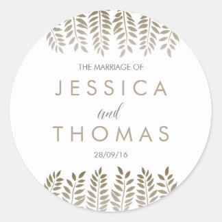 The Monochrome Fern Woodland Wedding Collection Round Sticker
