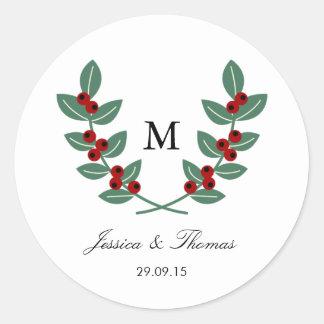 The Monogram Berry Bush Wedding Collection Classic Round Sticker
