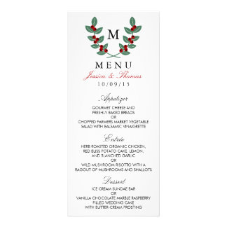 The Monogram Berry Bush Wedding Collection - Menu Full Color Rack Card