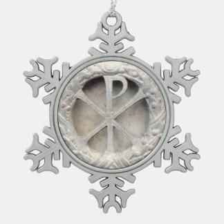 The Monogram of Christ Snowflake Pewter Christmas Ornament