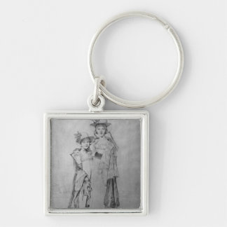 The Montagu Sisters in Rome, 1815 Silver-Colored Square Key Ring