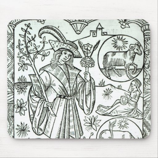 The month of April with astrological sun signs Mousepad
