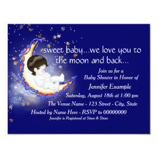 The Moon and Back Baby Shower 11 Cm X 14 Cm Invitation Card