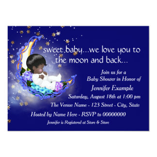 """The Moon and Back Baby Shower 6.5"""" X 8.75"""" Invitation Card"""