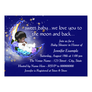 """The Moon and Back Baby Shower 5.5"""" X 7.5"""" Invitation Card"""