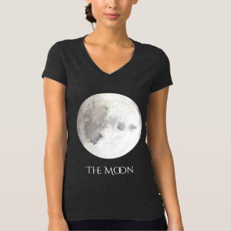 The Moon Planet Watercolor V-Neck T-Shirt