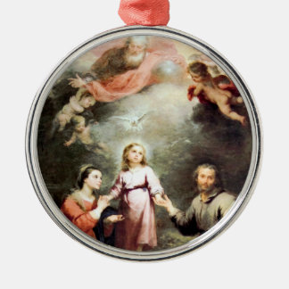 The Most Holy Trinity and The Holy Family Silver-Colored Round Decoration