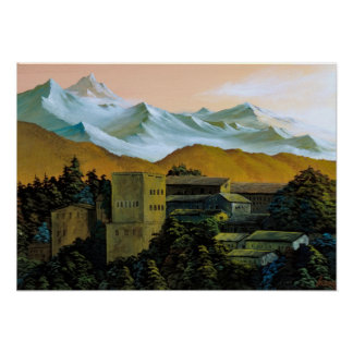 The mountain whose Alhambra is white Poster