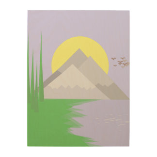 The mountains and the lake, with trees print