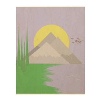 The mountains and the lake, with trees, sun print