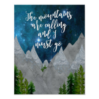the mountains are calling typography art poster