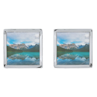 The Moutains and Blue Water Silver Finish Cufflinks
