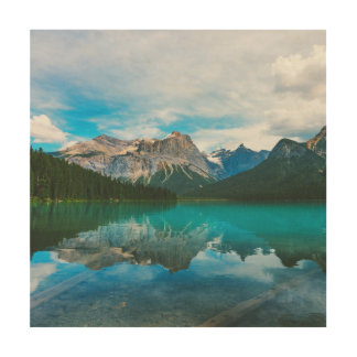The Moutains and Blue Water Wood Wall Art
