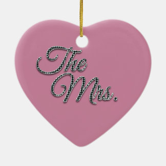 The Mrs with Bling! Ceramic Heart Decoration