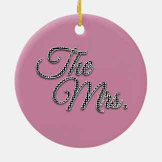 The Mrs with Bling! Round Ceramic Decoration