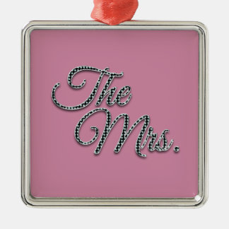 The Mrs with Bling! Silver-Colored Square Decoration