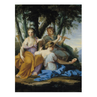 The Muses, Clio, Euterpe and Thalia, c.1652-55 Postcard